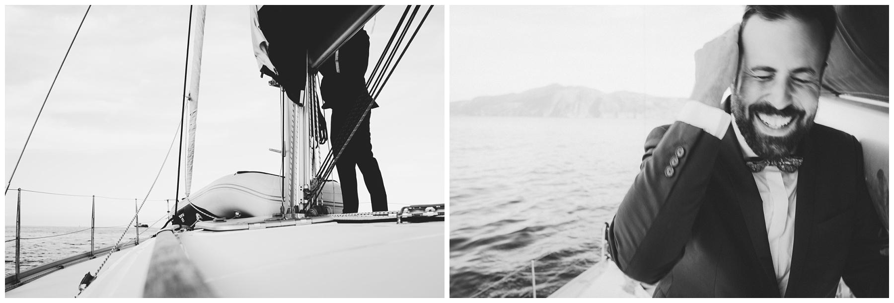 b&w photo on boat